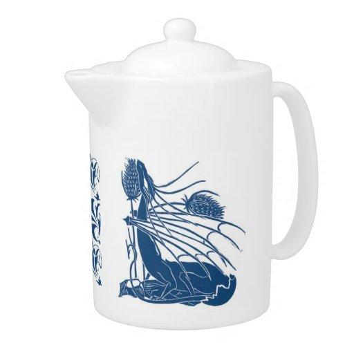 Nacimiento de un pote del té del dragón - azul