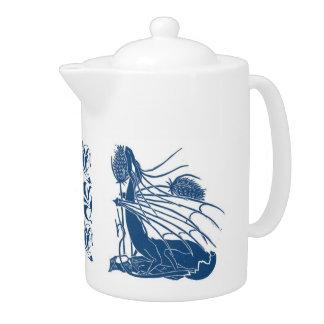 Nacimiento de un pote del té del dragón - azul cer