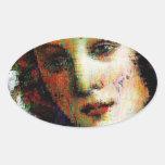 Nacimiento de Venus Calcomanías De Óvales Personalizadas