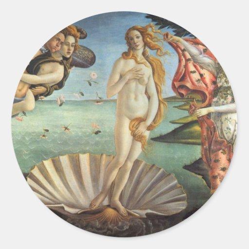 Nacimiento de Venus por Botticelli, arte Etiquetas Redondas