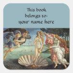 Nacimiento de Venus por el Bookplate de Sandro Pegatina Cuadrada