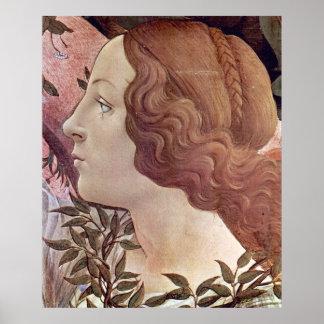 Nacimiento del detalle 2 de Venus por Botticelli Poster