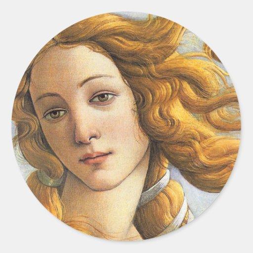 Nacimiento del detalle de Venus, Botticelli Pegatina Redonda