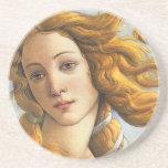 Nacimiento del detalle de Venus, Botticelli Posavasos Cerveza