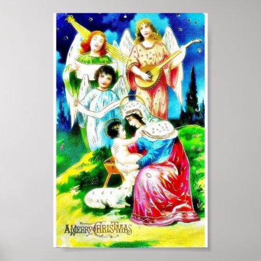 Nacimiento del Jesucristo por Maria con ángeles qu Poster