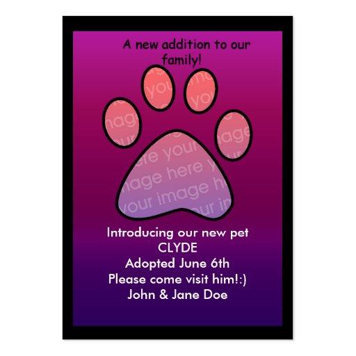 nacimiento del mascota/invitación de la adopción plantilla de tarjeta personal