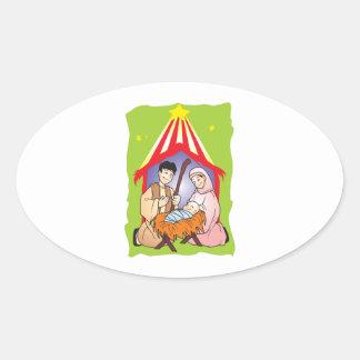 Nacimiento del navidad de la natividad de los colcomanias de óval