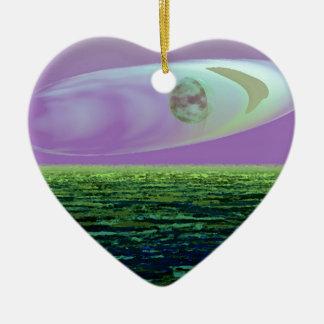 Nacimiento extraño del mundo de la tierra del arte adorno navideño de cerámica en forma de corazón