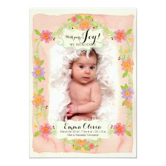 """Nacimiento floral Painterly moderno de la niña de Invitación 5"""" X 7"""""""