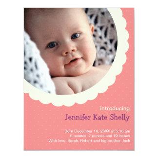 """Nacimiento lindo del bebé de la foto del rosetón invitación 4.25"""" x 5.5"""""""