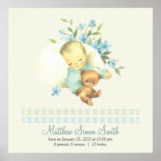 Nacimiento personalizado bebé el dormir del vintag poster