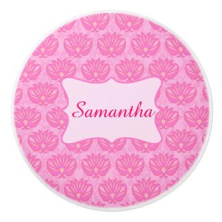 Nacimiento personalizado nombre rosado de la niña pomo de cerámica