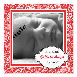 Nacimiento ROJO y fiesta de bienvenida al bebé de Invitacion Personal