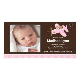 Nacimiento rosado Annoucement de la niña del aerop Tarjetas Personales Con Fotos