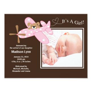 Nacimiento rosado Annoucement de la niña del Invitación 10,8 X 13,9 Cm