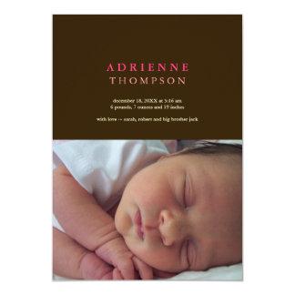 """Nacimiento sólido del bebé de la foto del rosa del invitación 5"""" x 7"""""""