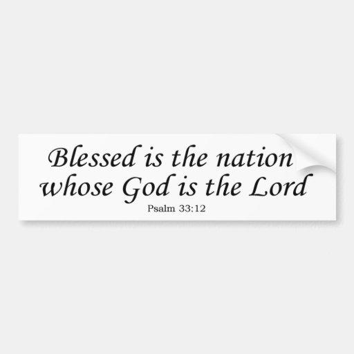 Nación bendecida cuyo dios es el señor - palillo d pegatina de parachoque
