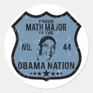 Nación de comandante de matemáticas Obama Pegatina Redonda