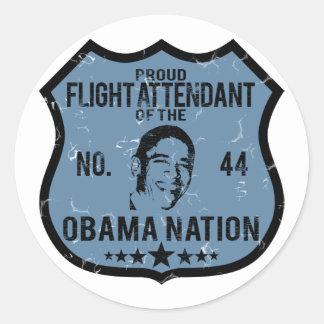 Nación de Obama del asistente de vuelo Pegatina Redonda