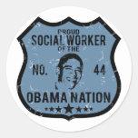 Nación de Obama del asistente social Pegatina Redonda