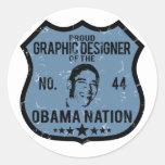 Nación de Obama del diseñador gráfico Etiqueta Redonda