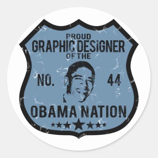 Nación de Obama del diseñador gráfico Etiquetas Redondas