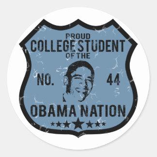 Nación de Obama del estudiante universitario Pegatina Redonda