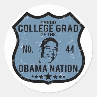 Nación de Obama del graduado de la universidad Pegatina Redonda