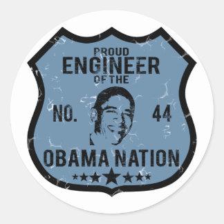 Nación de Obama del ingeniero Pegatina Redonda