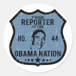 Nación de Obama del reportero Pegatina Redonda
