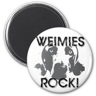 Nación de Weiaraner: ¡ROCA de Weimies! Imán Redondo 5 Cm