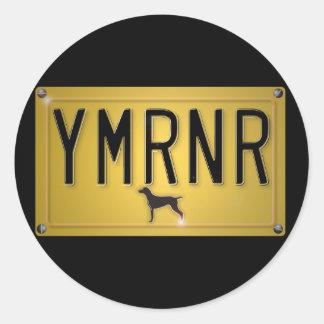 Nación de Weimaraner: Placa de YMRNR Pegatina Redonda