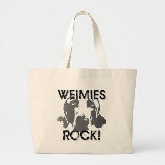 Nación de Weimaraner: ¡ROCA de Weimies! Bolsa Tela Grande