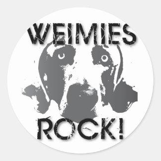 Nación de Weimaraner: ¡ROCA de Weimies! Pegatina Redonda