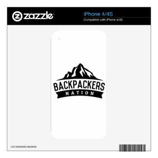 Nación del Backpacker Skin Para El iPhone 4
