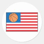 Nación del baloncesto etiqueta redonda