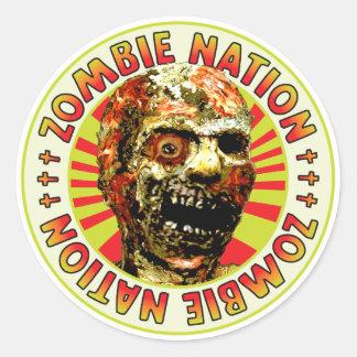 Nación del zombi etiqueta redonda