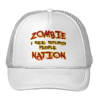 Nación del zombi - veo a gente estúpida gorros bordados