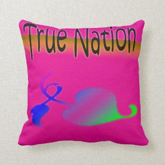 Nación verdadera rosada cojín
