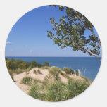 Nacional de las dunas de Indiana a orillas del lag Pegatinas Redondas