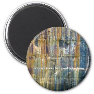 Nacional representado de las rocas a orillas del imán redondo 5 cm