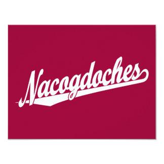 Nacogdoches script logo in white card