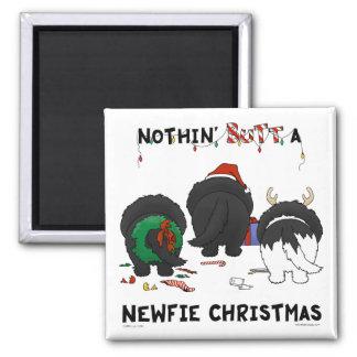 Nada empalma el navidad de un Newfie Imán Cuadrado