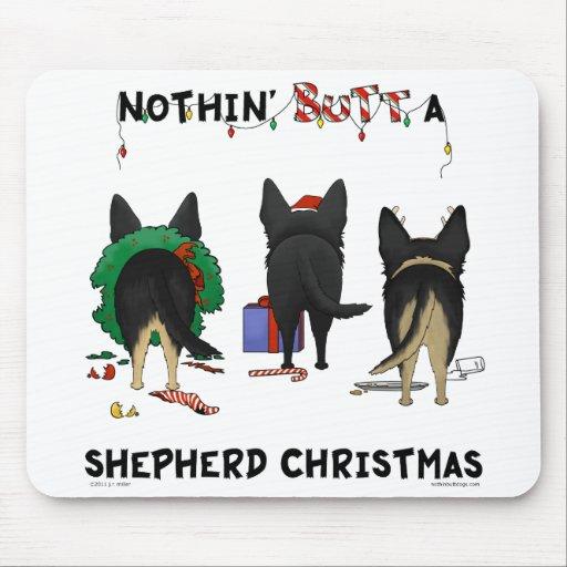 Nada empalma navidad de un pastor alemán alfombrillas de ratones