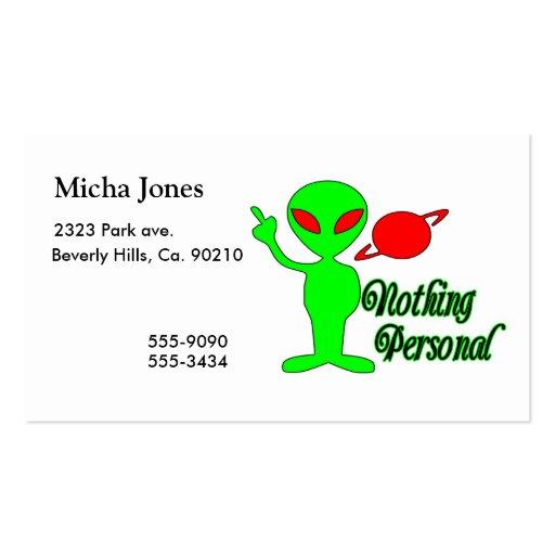Nada extranjero de espacio personal tarjetas de negocios