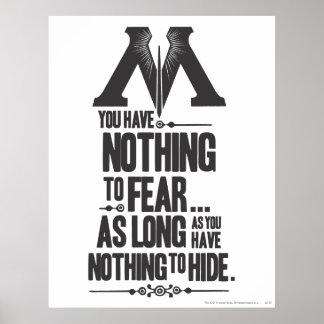 Nada no temer - nada ocultar póster