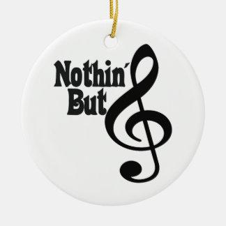 Nada pero triple adorno navideño redondo de cerámica