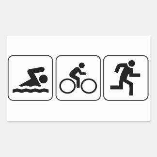 Nadada, bici, funcionamiento - Triathlon Pegatina Rectangular