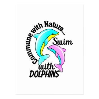 Nadada con los delfínes postales