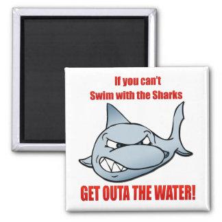 Nadada con los tiburones imán cuadrado
